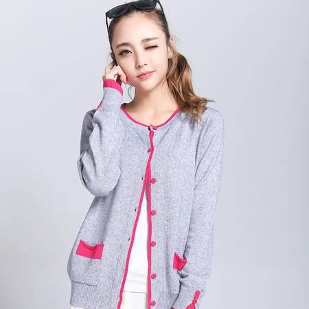 韩版新款女士配色羊绒针织开衫修身圆领羊毛衫保暖打底衫 时尚毛衣