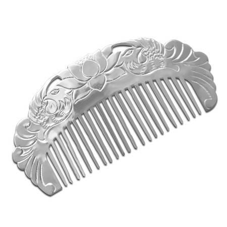 S999足银梳子鸳鸯荷花纯银梳子具有保健防白发脱发可疏通经气