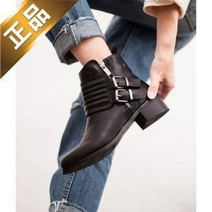 vivier shoes-纯色粗跟侧拉链靴子 [4cm]【包邮】【韩国正品】