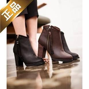 vivier shoes-粗高跟纯色高档靴子 [8.5cm]【包邮】【韩国正品】