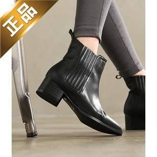 vivier shoes-方根纯色韩版靴子 [5cm]【包邮】【韩国正品】