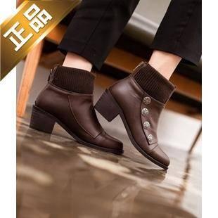 vivier shoes-方根后拉链纯色靴子 [5cm]【包邮】【韩国正品】