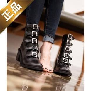 vivier shoes-后拉链韩版方根靴子 [7cm]【包邮】【韩国正品】