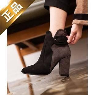vivier shoes-配色粗高跟韩版靴子 [8.5cm]【包邮】【韩国正品】