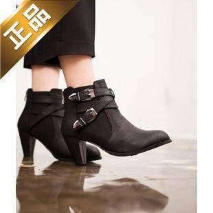 vivier shoes-纯色尖头韩版靴子 [7.5cm] 【包邮】【韩国正品】