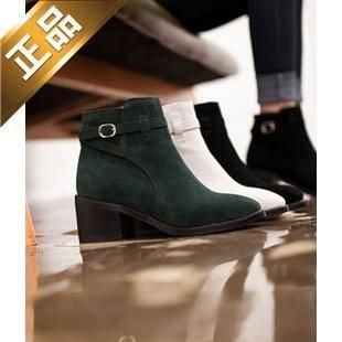 ivier shoes-方根纯色尖头靴子 [6cm]【包邮】【韩国正品】