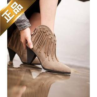 vivier shoes-后拉链尖头韩版靴子[8cm]【包邮】【韩国正品】
