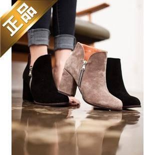 vivier shoes-侧拉链纯色韩版靴子 [8cm]【包邮】【韩国正品】