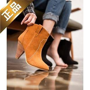 vivier shoes-尖头纯色韩版靴子 [9.5cm] 【包邮】【韩国正品】