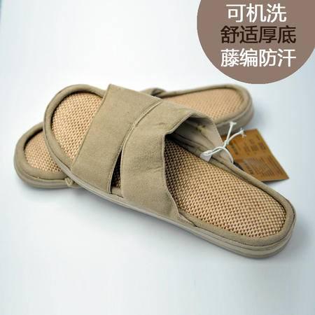 春夏新款 经典编织拖鞋优雅杏色 防滑男士居家拖鞋 可机洗