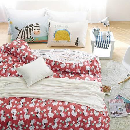[买就送40*75CM全棉纯白色毛巾2条]全棉斜纹喷气四件套 床上用品床单被套 时尚活泼  CWW