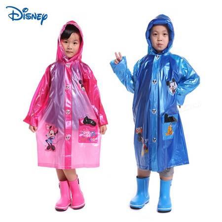 Disney迪士尼儿童雨衣带书包位 男女童学生卡通充气雨披 加厚包邮