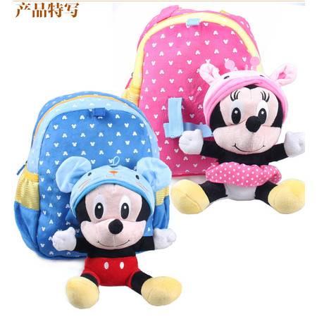迪士尼米奇米妮幼儿双肩背包宝宝背包毛绒公仔可拆卸背包