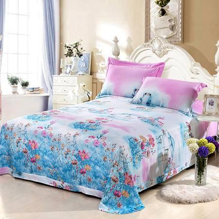欧莱罗 竹纤维床上用品夏凉席三件套 1.8m(6英尺)双人床 斜纹 活性印花 床品套件