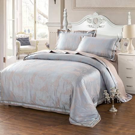 欧莱罗 维卡丝纯棉提花大红色婚庆四件套床上用品4件套结婚礼床品