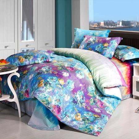 欧莱罗 精梳全棉高支高密时尚纯棉斜纹活性印花四件套 床上4件套