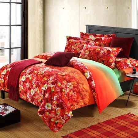 欧莱罗家纺 精梳纯棉加厚磨毛活性印花四件套 全棉斜纹床上用品