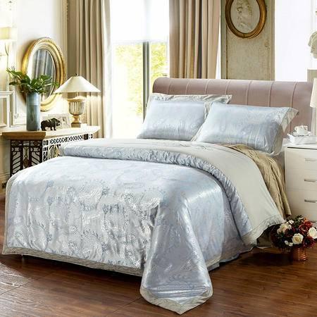 欧莱罗家纺 优卡丝丝棉提花婚庆四件套结婚礼用斜纹床上用品 纯棉床品套件
