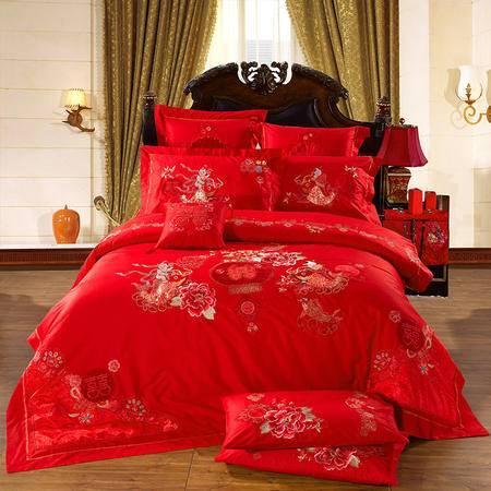 欧莱罗 纯棉大红色婚庆九件套多件套床上用品 结婚婚礼床品套件