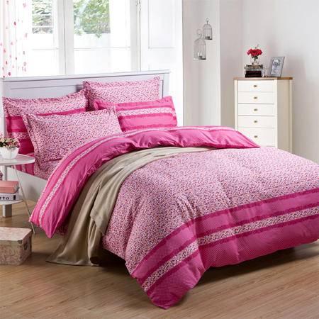 欧莱罗 纯棉床品四件套 全棉斜纹印花床上用品1.5/1.8米清仓