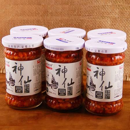 安徽特产焦岗湖神仙豆臭豆子酱菜下饭菜农家神仙豆201g*6瓶礼盒装