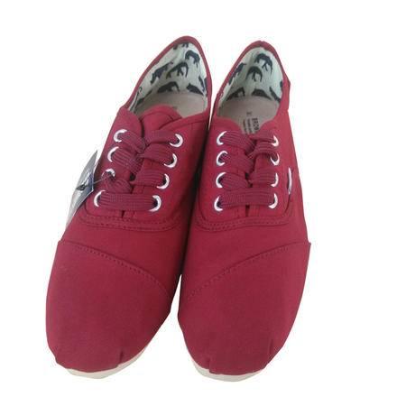 Brownstone 波浪 男士红色平底舒适一脚蹬系带帆布鞋BX4-2002