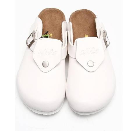 Brownstone 波浪 情侣款白色牛反绒包头女式软木拖鞋J-015