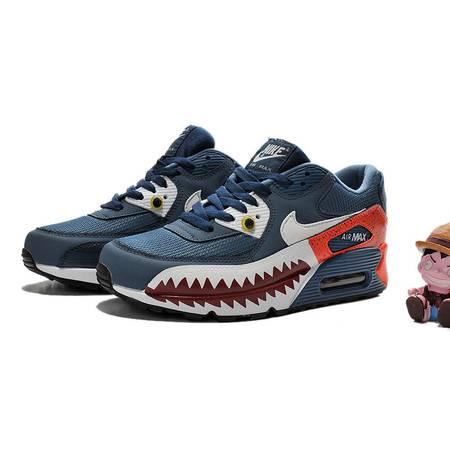 NIKE耐克新款 AIR MAX90手绘鲨鱼情侣鞋气垫跑步鞋