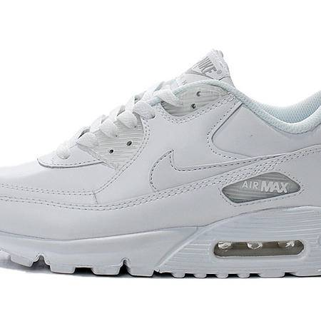 Nike耐克 Air Max 90 气垫男女鞋全白头层皮跑步鞋302519-113