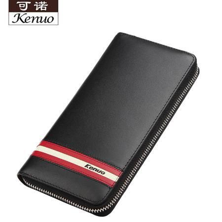 可诺新款男士真皮拉链包头层牛皮手机包长款钱包手拿包619-1