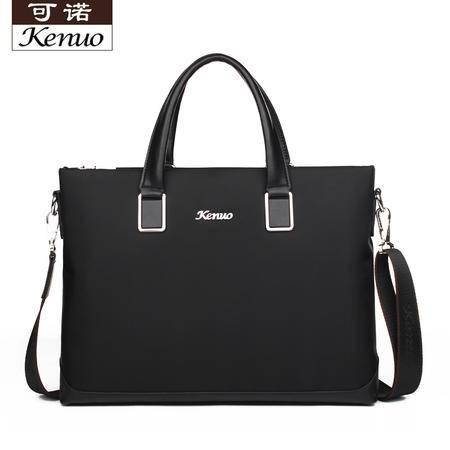 可诺新款男士手提包 黑色公文包 时尚潮男商务包 高级布包7130101