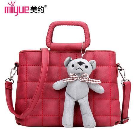 美约家新款包包可爱风小熊格子绣线纹女士背包单肩包斜跨包