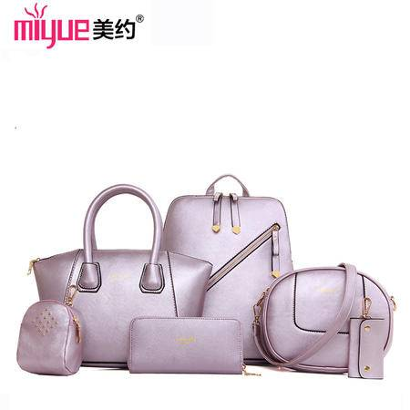 美约包包2016春季新款女士套包六件套通勤百搭女士双肩包手提包子母包