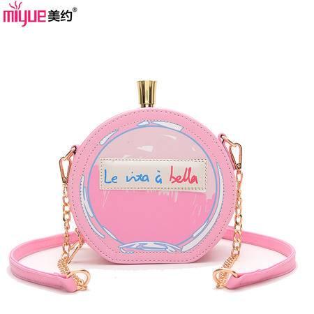 美约2016新款韩版时尚个性香水瓶链条小圆包单肩斜挎包包