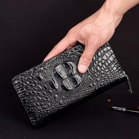 男士真皮鳄鱼纹手拿包韩版潮大容量多卡位男士长款钱包抓包