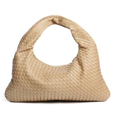 W.DIVA 高雅时尚编织山羊皮单肩手提包 杏色Y1300613