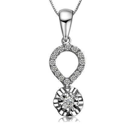 奈唯 18K白金15分钻石吊坠-同心圆