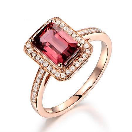 仟佰 18K金钻石天然红碧玺戒指-爱情密语 粉红色
