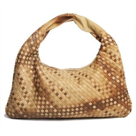W.DIVA 高雅时尚编织双色渐变山羊皮 单肩手提包 琥珀色 Y1300636-1