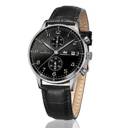 尼诺里拉 商务石英表运动男士真牛皮带精钢表壳男手表51005.021.02