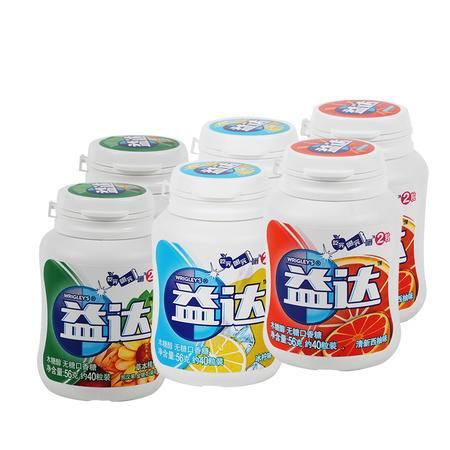益达无糖木糖醇56克40粒6瓶装 绿箭兄弟品牌 西柚+冰柠+本草精华44440188782