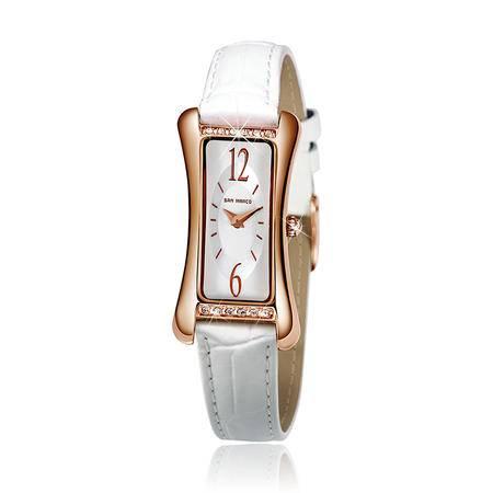 圣马可 异形钢色表壳时尚贝母表盘女表S5701L-R皮带手表