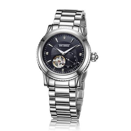 圣马可 全自动镂空黑盘机械男表S5587G-S钢带手表