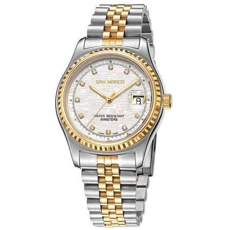 圣马可 全自动日历机械白盘男表SX5371G-GX钢带手表