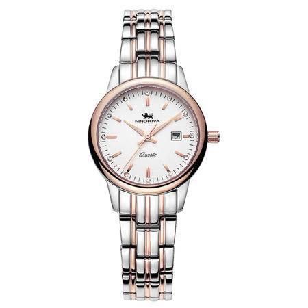 尼诺里拉 带日历间玫瑰金色精钢石英商务休闲女士手表11009.212.04