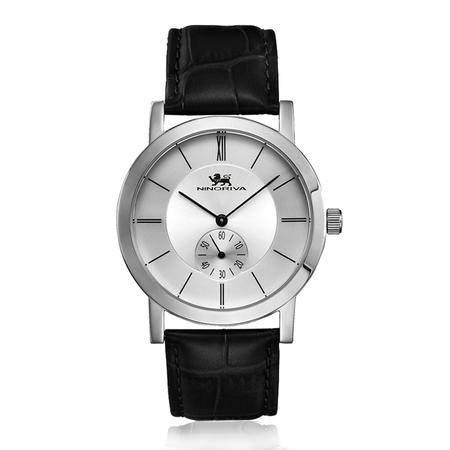 尼诺里拉 白钢商务时尚皮带男士手表11031.021.01