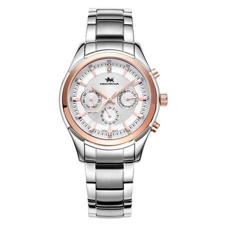 尼诺里拉 多功能计时商务男士手表精钢带休闲日历石英表男款51019.211.01
