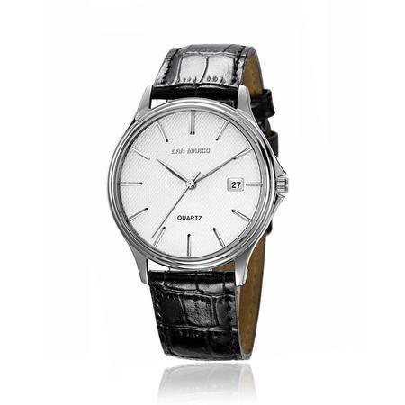 圣马可简约原装石英男表R1281G皮带手表