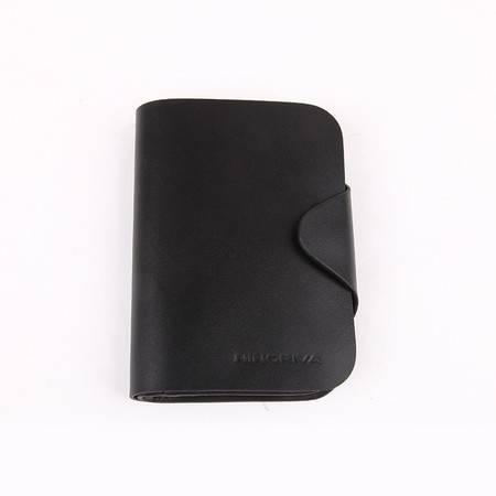 NINORIVA 尼诺里拉 黑色 牛皮革短款钱夹 NR60320-1