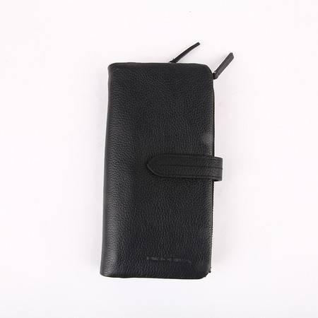 NINORIVA 尼诺里拉 黑色 长款牛皮革女士钱夹 NR60065-2